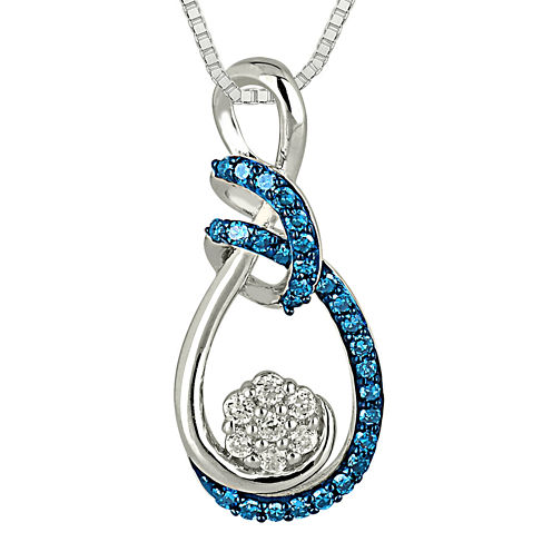 1/3 CT. T.W. White and Color-Enhanced Blue 10K White Gold Pendant Necklace