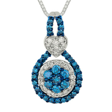 jcpenney.com | 3/4 CT. T.W. White and Color-Enhanced Blue Diamond 10K White Gold Pendant Necklace