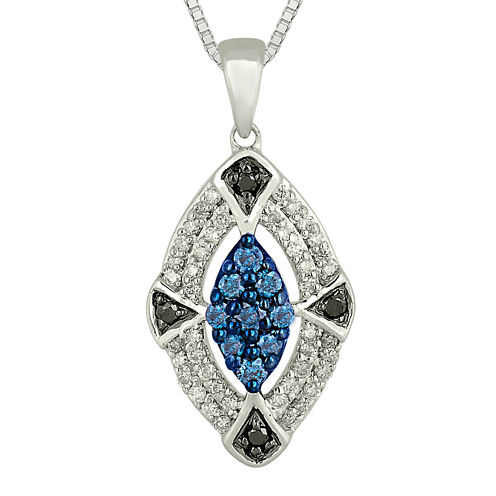 3/8 CT. T.W. White, Blue & Black Diamond 10K White Gold Pendant