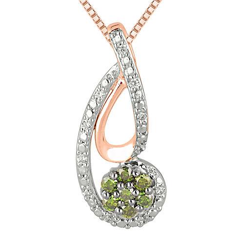 1/4 CT. T.W. Green & White Diamond 10K White & Rose Gold Pendant Necklace