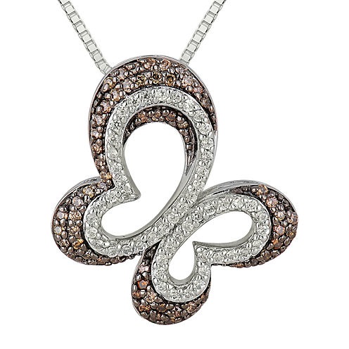 1/2 CT. T.W. Champagne & White Diamond 10K White Gold Butterfly Pendant Necklace