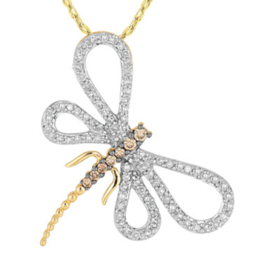 jcpenney.com | 1/2 CT. T.W. White & Champagne Diamond 10K White Gold Dragonfly Pendant Necklace