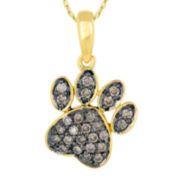 1/4 CT. T.W. Champagne Diamond 10K Yellow Gold Paw Print Pendant Necklace