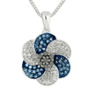 1/2 CT. T.W. White & Color-Enhanced Blue and Black Diamond Necklace