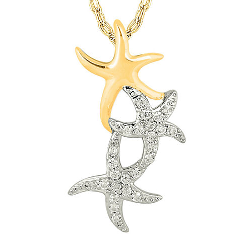 1/6 CT. T.W. Diamond 10K Two-Tone Gold Starfish Pendant Necklace