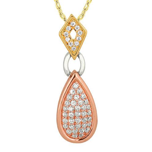 1/3 CT. T.W. Diamond 10K Tri-Color Gold Pendant Necklace