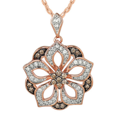 jcpenney.com | 1/3 CT. T.W. White & Champagne Diamond 10K Rose Gold Pendant Necklace