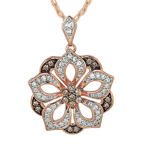 1/3 CT. T.W. White & Champagne Diamond 10K Rose Gold Pendant Necklace