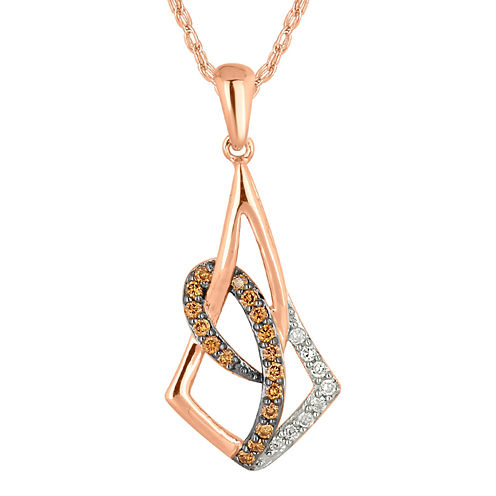 1/4 CT. T.W. White and Champagne Diamond Prism Pendant Necklace