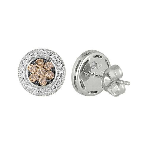 5/8 CT. T.W. Champagne & White Diamond 10K White Gold Earrings