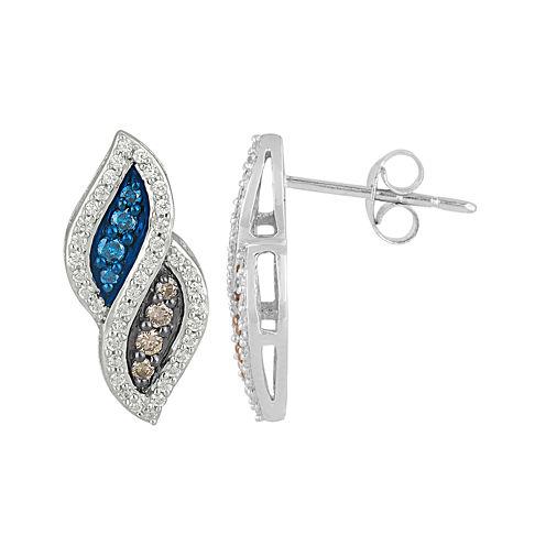 1/2 CT. T.W. Champagne, White & Color-Enhanced Blue Diamond Earrings