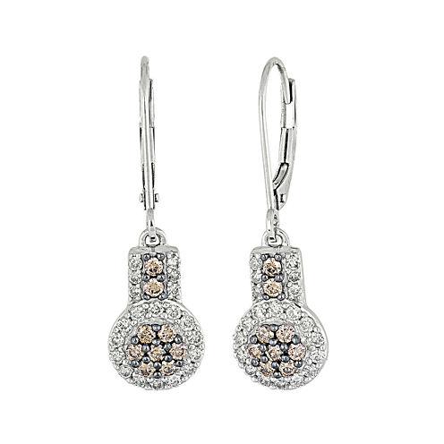 3/4 CT. T.W. Champagne & White Diamond 10K White Gold Dangle Earrings