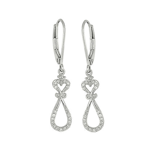 1/4 CT. T.W. Diamond 10K White Gold Dangle Earrings