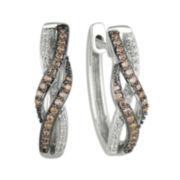 1/3 CT. T.W. Champagne & White Diamond 10K White Gold Hoop Earrings
