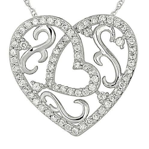 1/2 CT. T.W. Diamond 10K White Gold Heart Pendant Necklace