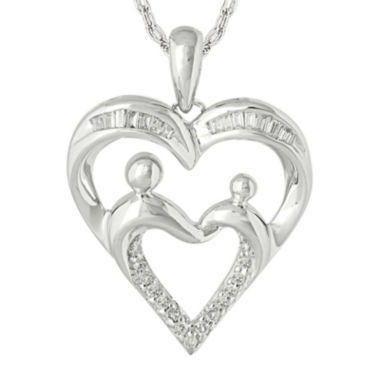jcpenney.com | 1/7 CT. T.W. Diamond  Accent 10K White Gold Heart Pendant Necklace