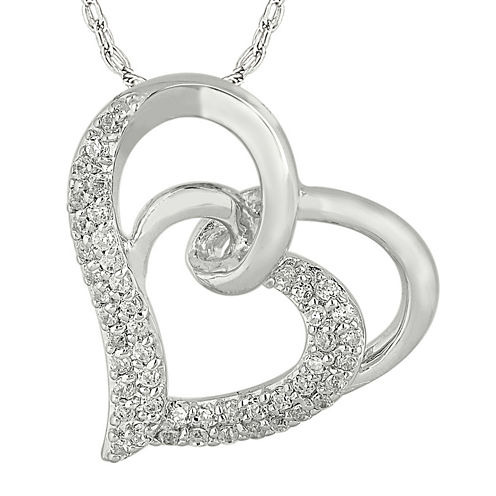1/3 CT. T.W. Diamond 10K White Gold Double Heart Pendant Necklace