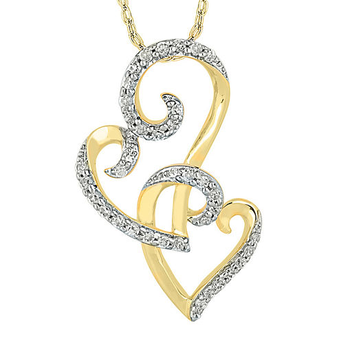 1/3 CT. T.W. Diamond 10K Yellow Gold Double Heart Pendant Necklace