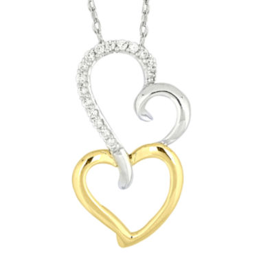 jcpenney.com | 1/10 CT. T.W. Diamond Two-Tone 14K Gold Heart Pendant Necklace