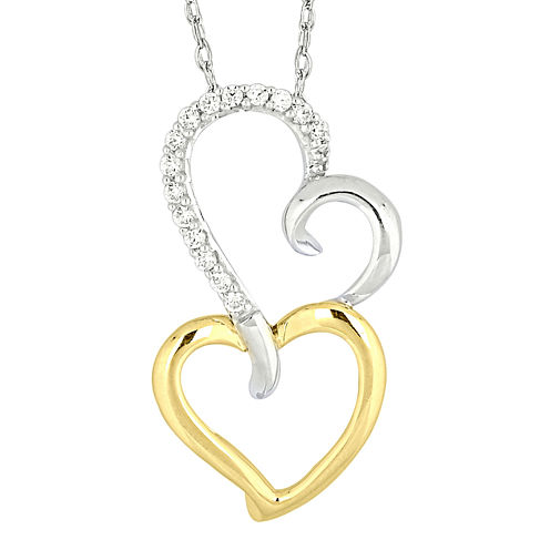 1/10 CT. T.W. Diamond Two-Tone 14K Gold Heart Pendant Necklace