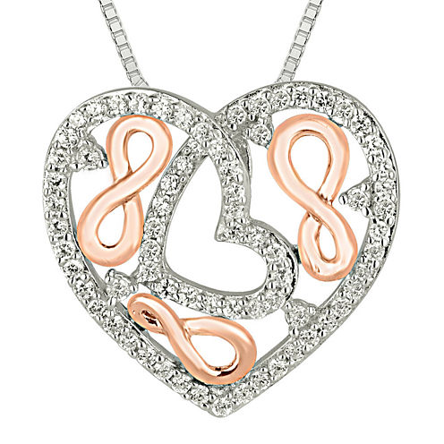 1/2 CT. T.W. Diamond 10K Two-Tone Rose Gold Heart Pendant Necklace