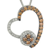 1/2 CT. T.W. Champagne & White Diamond 10K White Gold Heart Pendant Necklace