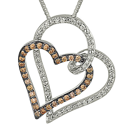 1/2 CT. T.W. Champagne & White Diamond 10K Gold Double Heart Pendant Necklace