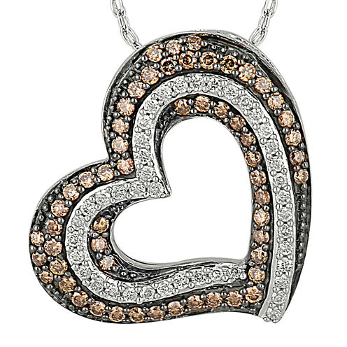 1/2 CT. T.W. Champagne & White Diamond 10K Gold Double Heart Pendant Necklace
