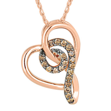jcpenney.com | 1/8 CT. T.W. Champagne Diamond 10K Rose Gold Heart Pendant Necklace