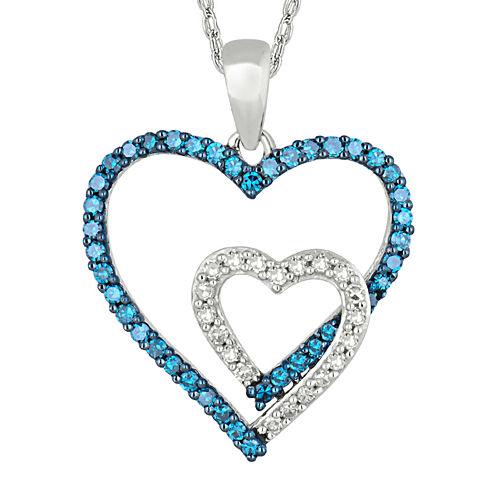 1/2 CT. T.W. White & Color-Enhanced Blue Diamond 10K Gold Heart Pendant Necklace