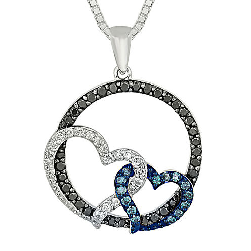 1/2 CT. T.W. White and Color-Enhanced Blue and Black Diamond Circle Necklace