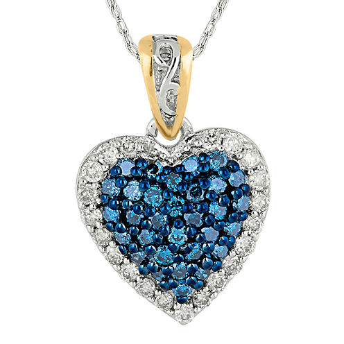 1/3 CT. T.W. White and Color-Enhanced Blue Diamond Heart Pendant Necklace