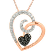 1/4 CT. T.W. White and Color-Enhanced Black Diamond Heart Pendant Necklace