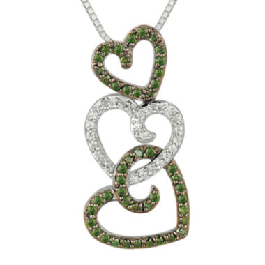 jcpenney.com | 1/2 CT. T.W. White and Color-Enhanced Green Diamond Triple Heart Pendant Necklace