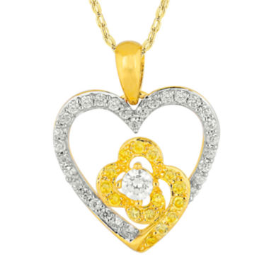 jcpenney.com | 1/2 CT. T.W. White and Color-Enhanced Yellow Diamond Heart Pendant Necklace