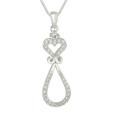 jcpenney.com | 1/4 CT. T.W. Diamond Heart and Loop Pendant Necklace