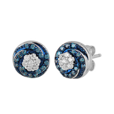 jcpenney.com | 1/3 CT. T.W. White and Color-Enhanced Blue Diamond Sterling Silver Stud Earrings