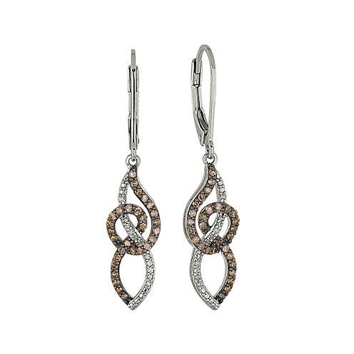 1/2 CT. T.W. Champagne & White Diamond Sterling Silver Dangle Earrings