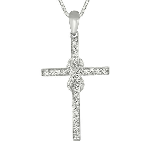 1/3 CT. T.W. Diamond Sterling Silver Cross Pendant Necklace