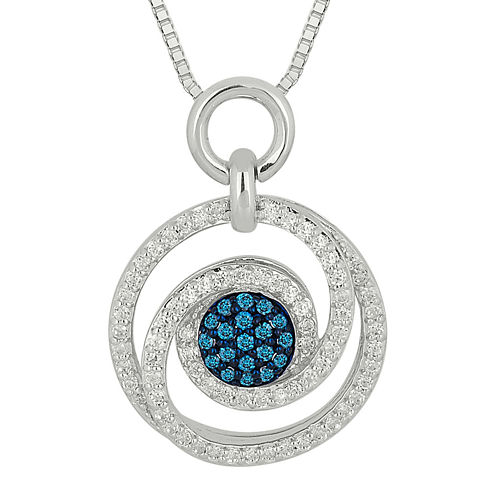 1/2 CT. T.W. White and Color-Enhanced Blue Diamond Swirl Pendant Necklace