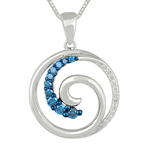 1/4 CT. T.W. White and Color-Enhanced Blue Diamond Swirl Pendant Necklace.