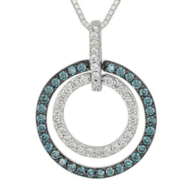 jcpenney.com | 1/3 CT. T.W. White and Color-Enhanced Blue Diamond Circle Pendant Necklace.