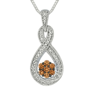 jcpenney.com | 3/8 CT. T.W. White & Champagne Diamond Sterling Silver Infinity Pendant Necklace