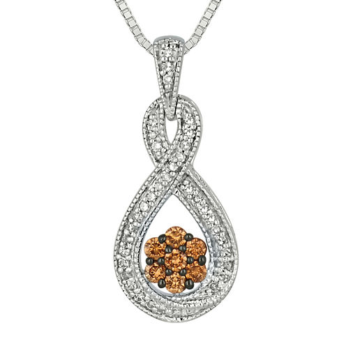 3/8 CT. T.W. White & Champagne Diamond Sterling Silver Infinity Pendant Necklace