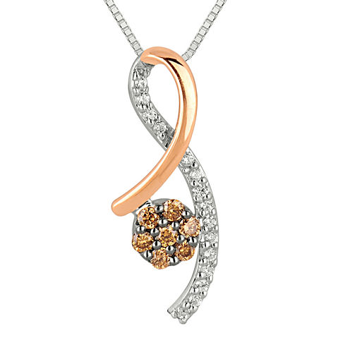 1/4 CT. T.W. White & Champagne Diamond Pendant Necklace