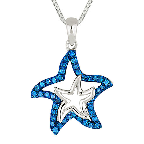 1/3 CT. T.W. Color-Enhanced Blue Diamond Star Pendant Necklace