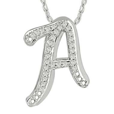 jcpenney.com | 1/7 CT. T.W. Diamond Sterling Silver Initial A Pendant Necklace
