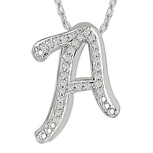 1/7 CT. T.W. Diamond Sterling Silver Initial A Pendant Necklace