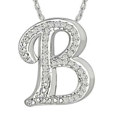 jcpenney.com | 1/7 CT. T.W. Diamond Sterling Silver Initial B Pendant Necklace