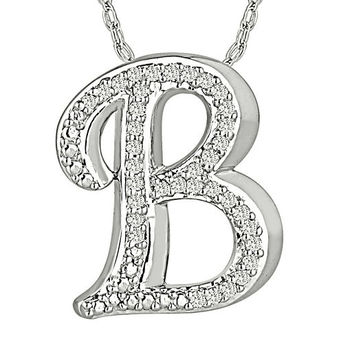 1/7 CT. T.W. Diamond Sterling Silver Initial B Pendant Necklace